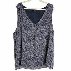 🍁 GNW Top sleeveless printed black white 2X